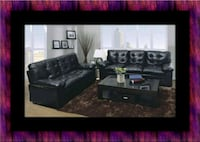 U6900 Black bonded sofa and loveseat College Park