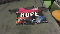 black, pink and blue floral VS pink scoop-neck shirt Indianapolis, 46113