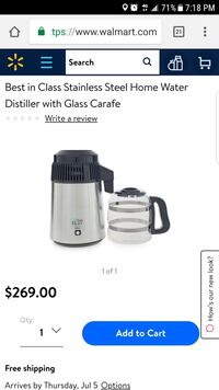 Stainless Steel Home Water Distiller with Glass Carafe