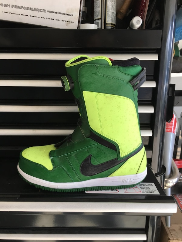 Green-and-black nike high-top sneakers