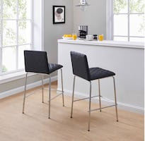 Etta Quilted Counter Stools, set of 2, black 24""