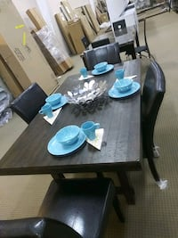 rectangular brown wooden table with four chairs dining set Houston, 77076