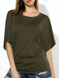 olive-green crew-neck short-sleeve top Montreal, H4J 1E8