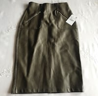 ZARA NEW leather high waisted khaki pencil skirt with open cut on the back & 2 side metallic zipper  pockets (Price drop*) Montréal, H4L 5M5