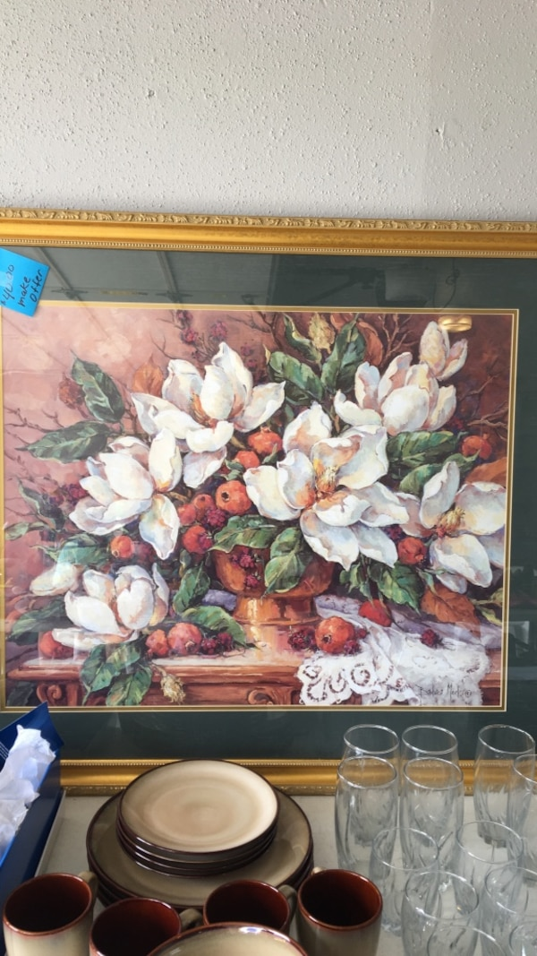 white and red petaled flower painting