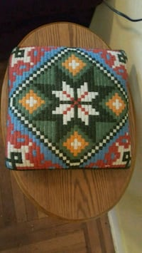Vintage 1970s  Hand Knit Sewn Needle Point Pillow  New York