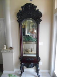 """Antique Victorian Hall Tree Ornate Cherub Angel Face Front Shelf 7'10"""" tall Cape Coral"""