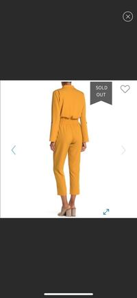Nordstrom ONE ONE SIX - Notch Collar Roll Sleeve Jumpsuit mustard / M