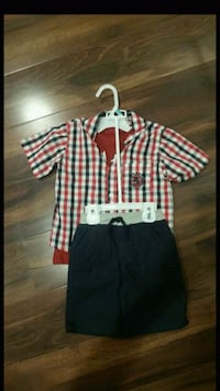 boy's white and red plaid shirt and black shorts Vernon Hills, 60061