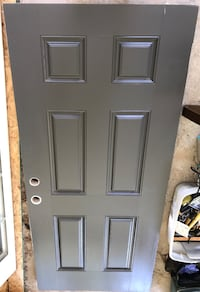 Gray wooden 6-panel door