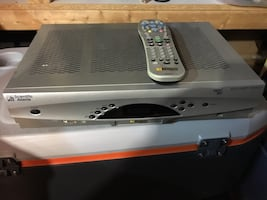 Gray and black dvd player