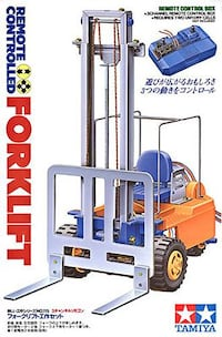 Tamiya Remote Controlled Forklift Brand New & Sealed! Few Available.  FEATURES Uses three motors to simulate the movements of a full sized forklift. Forward/reverse movement, steering and lift operation can be controlled by a 3-channel remote control box. Toronto