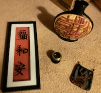 Asian decor - Large vase, shadowbox picture, charcoal burner and pouch Woodbridge, 22192