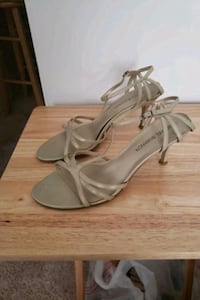 pair of gray leather open toe ankle strap heels Bowie, 20721