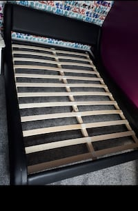 brown and black wooden slatted bed frame Bradford, BD1