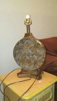 brass and clear glass table lamp