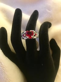 Red Ruby Simulated Heart-cut Crystal Ring Size Alexandria, 22304