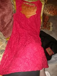 PINS AND NEEDLES RED LACE SLEEVELESS DRESS Garden Grove