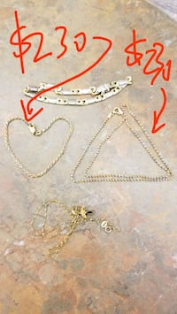 gold chain link necklace with pendant Richmond, V6Y 3R7