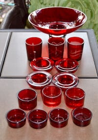 Red Candle Holders & Glass Centrepiece Bowl - NO CHIPS OR CRACKS - GREAT CONDITION  Coquitlam, V3K 1H2