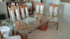 oak table chair glass top 1in