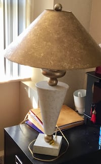 Gold and off white lamp