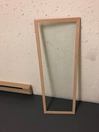 """Tempered Glass shelf panel framed in by wood. 2 sizes 46"""" x 16"""". And 50"""" x 16"""". These had no hardwar Surrey, V3V 7L9"""