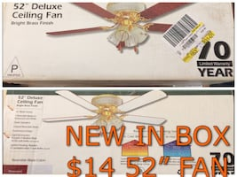 """FAN 52"""" CEILING FAN NEW IN BOX WHITE OR BROWN BLADES CHOICE ONLY $14"""