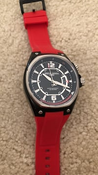 round black and silver chronograph watch with red strap Silver Spring, 20910