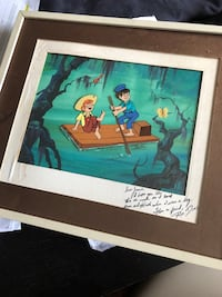 Cartoon gel membrane. Ronald Dias (1937-2013) legendary Disney/Hana-Barbera, animator/painter. The New adventures of Huckleberry Finn TV show (1968-69). signed. 545 km