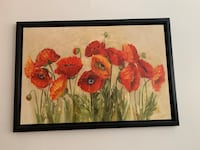 red petaled flower painting with black wooden frame Laval, H7G