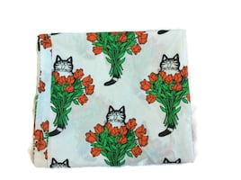 Rare KLIBAN Cat with Red ROSES Full Size SHEETS