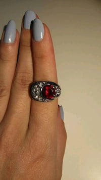 round silver and red gemstone ring Calgary