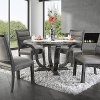 5-Pc Gray Round Wood Dining Set