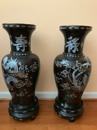 """Perfect pair Large Black lacquer wood vase Dragon Phoenix  Mother of pearl Vintage Chinese 27""""x11"""".  One chip on top photo 6.。 Derwood, 20855"""