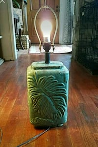teal leaf embossed table lamp