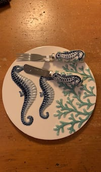 Cheese plate and fork/knife set