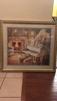 brown wooden framed painting of house Laredo, 78046