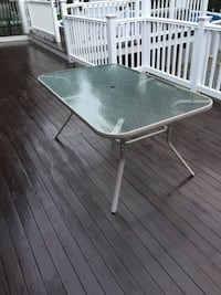 rectangular white metal framed glass top patio table North Scituate, 02857