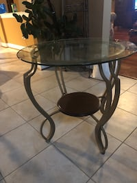 2 glass top side tables - price for both together Leesburg, 20176