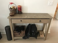 Hallway table, light wood color, some stains at top but fixable, drawer opens with plenty space for keys tablets wallets or other items Jersey City, 07302