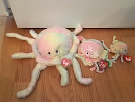 three Ty Beanie Baby octopus plush toys