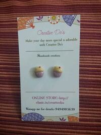 Cupcake clay earrings 13779 km