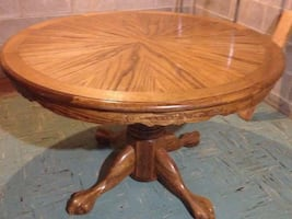 4ft round oak antique table paw feet with left