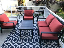 back yard furniture- red set with table