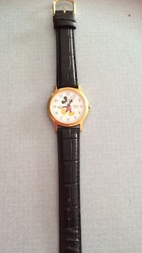 Black leather strap gold round mickey mouse analog watch Manchester, 03103