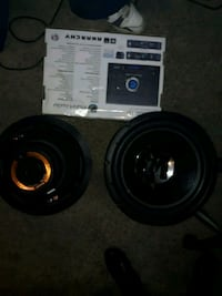 black and oranges Memphis audio subwoofers and amp Lakewood, 80214