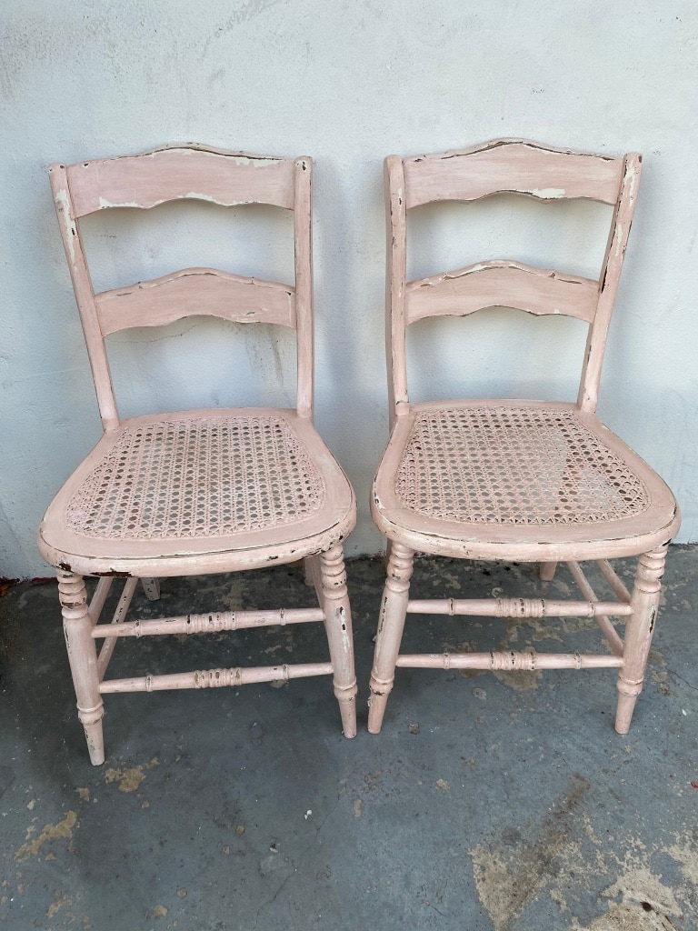 Photo A pair of antique pink cane chairs for sale