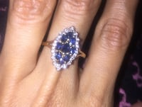 14kt Yellow Gold (Antique) - Genuine Sapphire and Diamond Ring Size 7 Hialeah, 33018