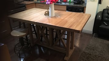 "Solid Oak Bar height 36"" table"